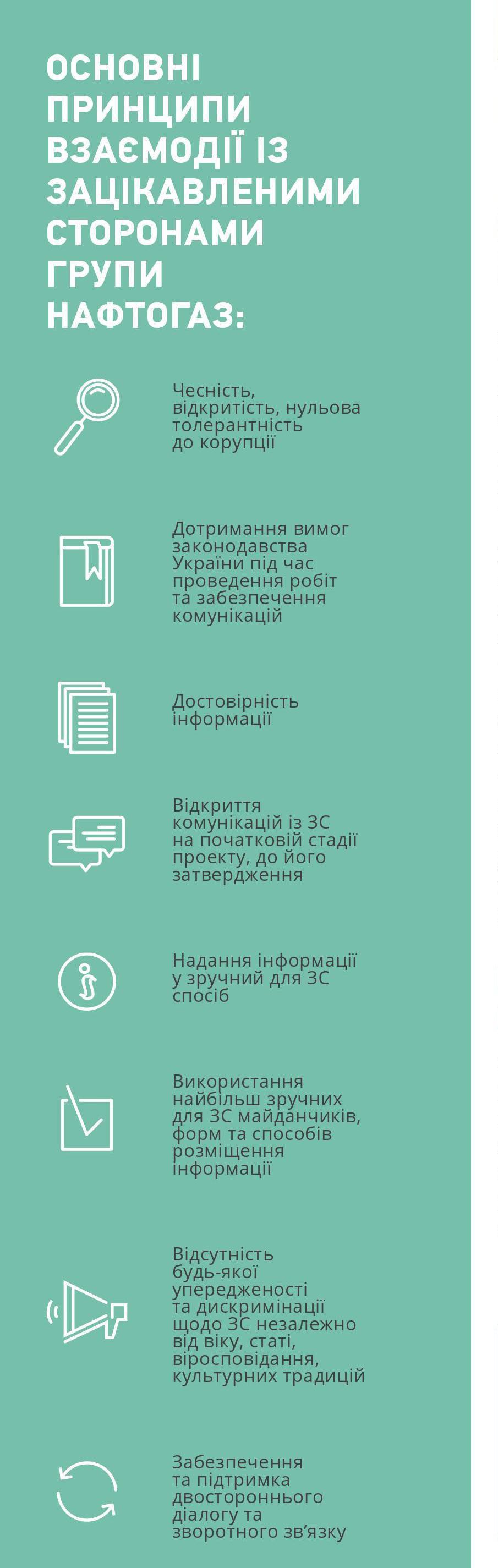 Основні принципи взаємодії із зацікавленими сторонами групи Нафтогаз